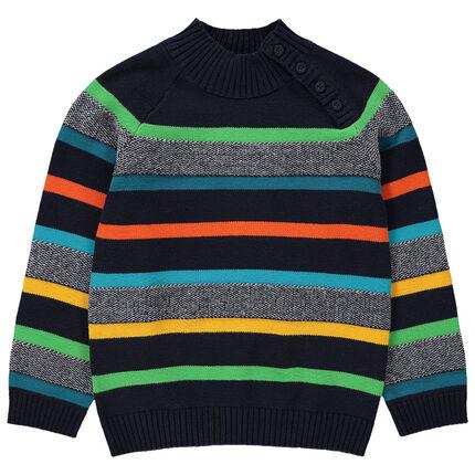Jersey de punto con cuello subido y rayas de colores
