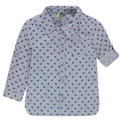Camisa de manga larga de algodón con helicópteros estampados all-over