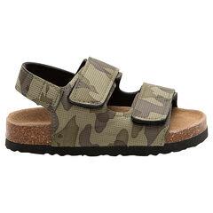 Sandalias con estampado militar y suela con efecto corcho
