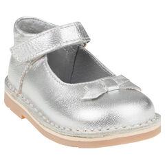 Zapatos merceditas con velcro de cuero de color plateado con lazo