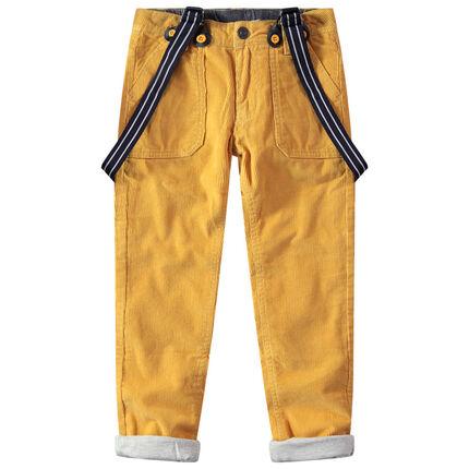 Pantalón de terciopelo acanalado con forro de punto y tirantes desmontables