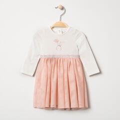 Vestido de punto con efecto 2 en 1 y estampado de conejo con tul elástico plateado