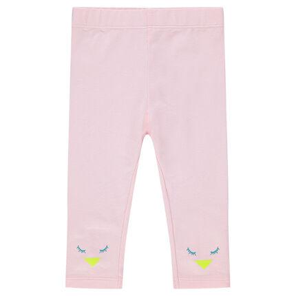 Leggings de punto rosa con detalles de pájaros estampados