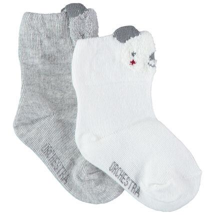 Pack de 2 pares de calcetines de koala grises/blancos