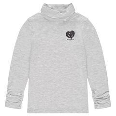 Camiseta interior de punto con cuello vuelto y corazón estampado