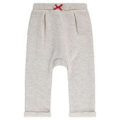 Pantalón de chándal de felpa con lazo que contrasta