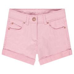 Pantalón corto de algodón de fantasía con detalles rosas dorados