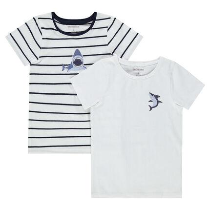 Juego de 2 camisetas interiores de punto de rayas/liso con estampado de tiburón