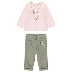 Conjunto de camiseta con cuello de bebé y pantalón de terciopelo