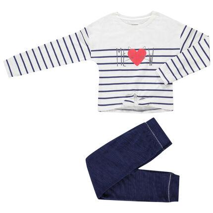 Conjunto con camiseta de rayas que se anuda y pantalón jaspeado