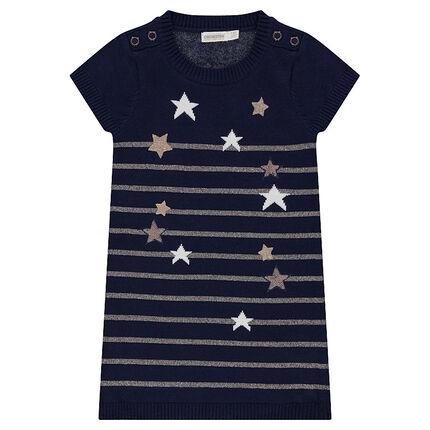Vestido de manga corta de punto con estrellas y rayas doradas