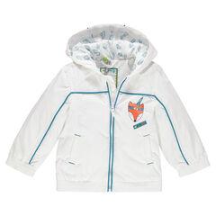 Cortavientos con capucha con forro de jersey y estampado de zorro