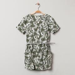 Robe manches courtes à imprimé floral et ceinture amovible