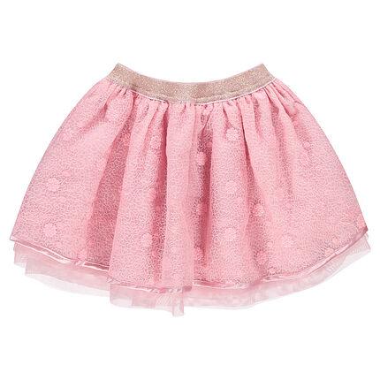 Falda de ceremonia con volantes de tul y cintura brillante