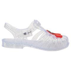 Zapatos de playa transparentes con brillo y una cereza plastificada de la 24 a la 29