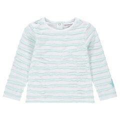 Camiseta de manga larga con rayas de relieve y estrella cosida