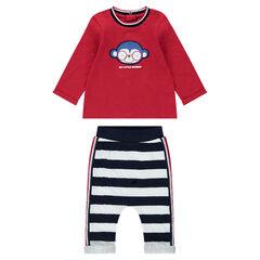 Conjunto de camiseta con mono bordado y pantalón bombacho de rayas