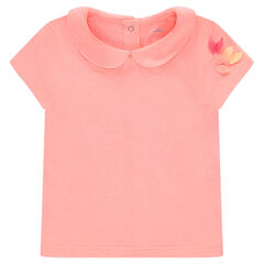 Camiseta de manga corta de punto liso con cuello bebé