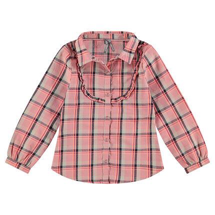 Camisa de manga larga de cuadros con abertura con volantes