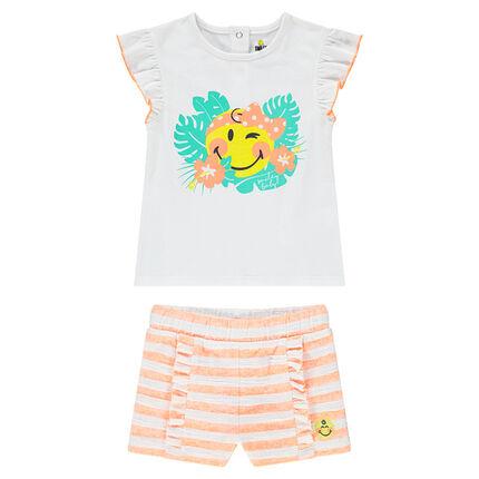 Conjunto de camiseta con estampado ©Smiley y pantalón corto de rayas