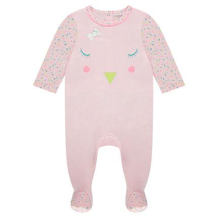 Pijama de punto con bordados y dibujos gráficos