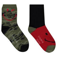 Juego de 2 pares de calcetines variados con estampado militar ©Smiley