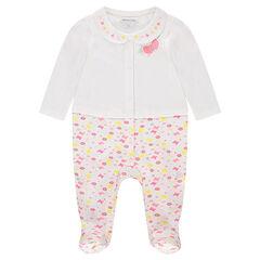 Pijama de punto efecto 2 en 1 con cuello tipo babero bordado