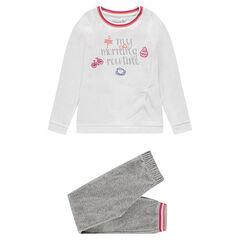 Júnior - Pijama de terciopelo con inscripción estampada y bordados