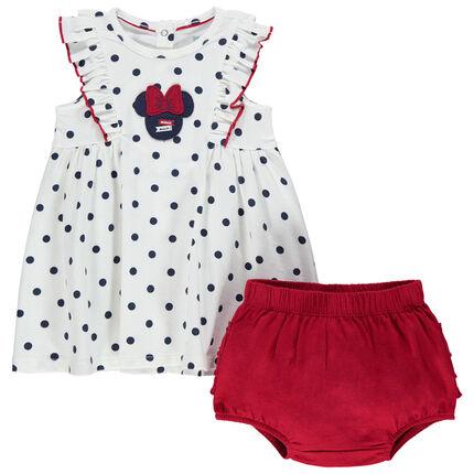 Conjunto de vestido con lunares Disney Minnie y pololo con volantes