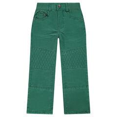 Pantalón recto liso con pespuntes