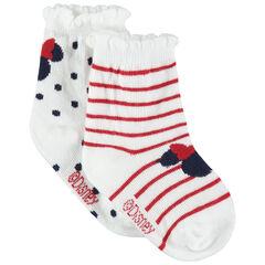 Juego de 2 pares de calcetines a juego con Dibujo de Minnie con lunares y rayas Disney