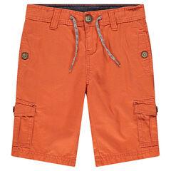 Bermudas de sarga lisa con bolsillos