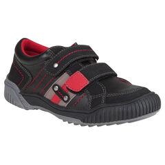 Zapatillas de deporte de aspecto cuero de cañas bajas con velcro con remaches