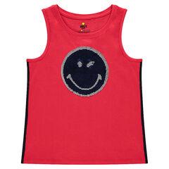Júnior - Camiseta lisa sin mangas con ©Smiley de lentejuelas mágicas