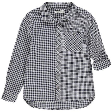 Camisa de manga larga de cuadros de vichy y bolsillo