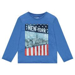 Camiseta de punto de manga larga de punto con estampado de Nueva York