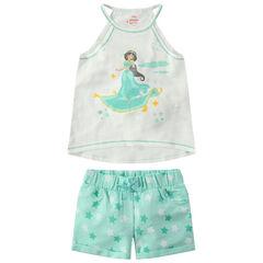 Conjunto de camiseta sin mangas con estampado de Yasmine ©Disney y pantalón corto con estrellas all over