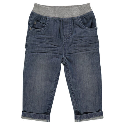 Jeans efecto usado cintura elástica