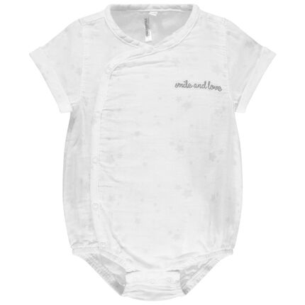 Body de manga corta de algodón ecológico con inscripción bordada
