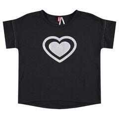 Camiseta de manga corta con corazón estampado en la parte delantera