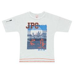 Camiseta de manga corta con estampado de Japón y cremallera en la manga