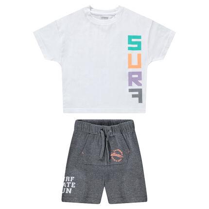 Conjunto con camiseta con estampado de surf y bermudas con bolsillo canguro