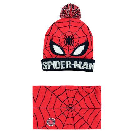 Conjunto de gorro y snood de punto con dibujo de ©Marvel Spiderman de jácquard