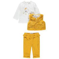 Conjunto con camiseta de manga larga y estampado de ratoncito, chaqueta de pelo falso y pantalón de terciopelo