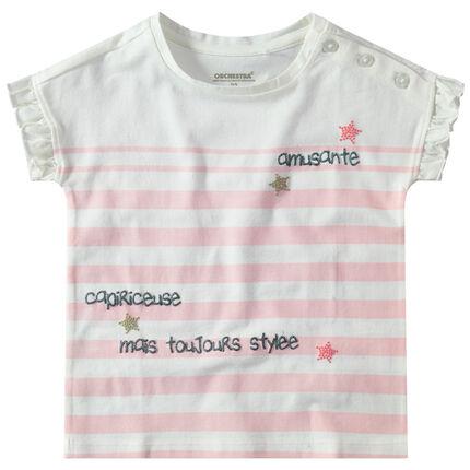 Camiseta de manga corta con volantes, rayas y abertura con botones