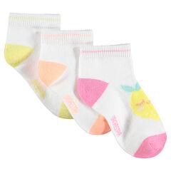 Juego de 3 pares de calcetines a juego con frutas de jacquard