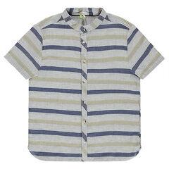 Júnior - Camisa de manga corta a rayas de algodón de fantasía con cuello mao.