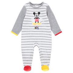 Pijama de terciopelo de rayas con estampado de Mickey ©Disney