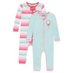 Pack de 2 pijamas de punto con cremallera