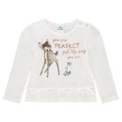 Camiseta de manga larga con volantes Disney estampado Bambi
